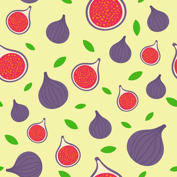 Fig fruit slices & leaves seamless vector pattern. Tropical background