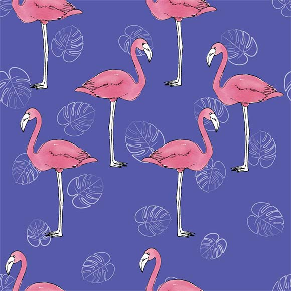 Flamingo birds & palm leafs seamless vector pattern. Season background