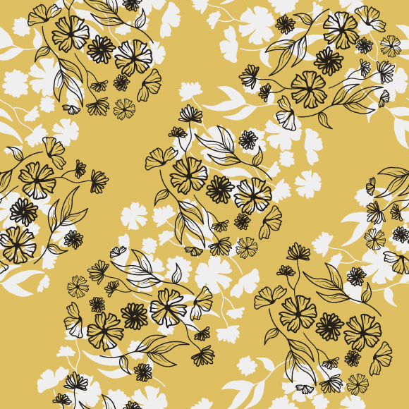 Contemporary floral vector pattern