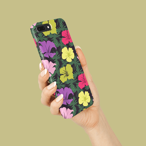 blossom floral phone case on a hands