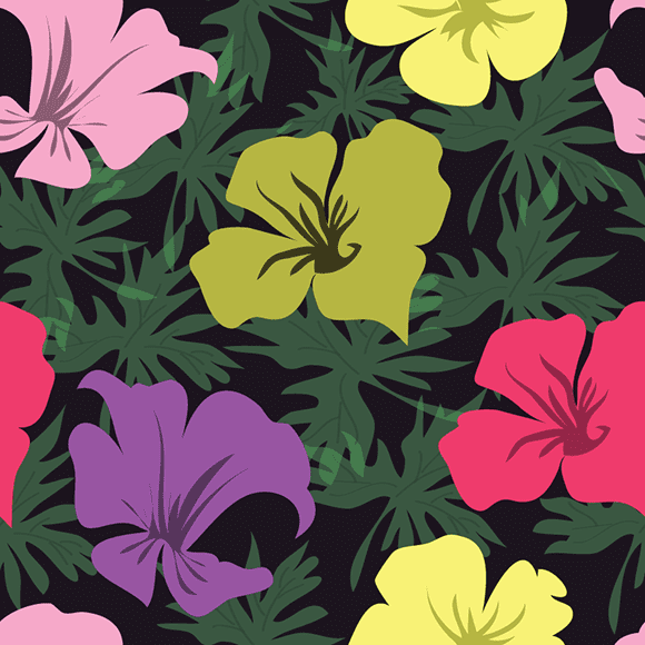 Colorful tropical blossom floral with leaves seamless vector pattern