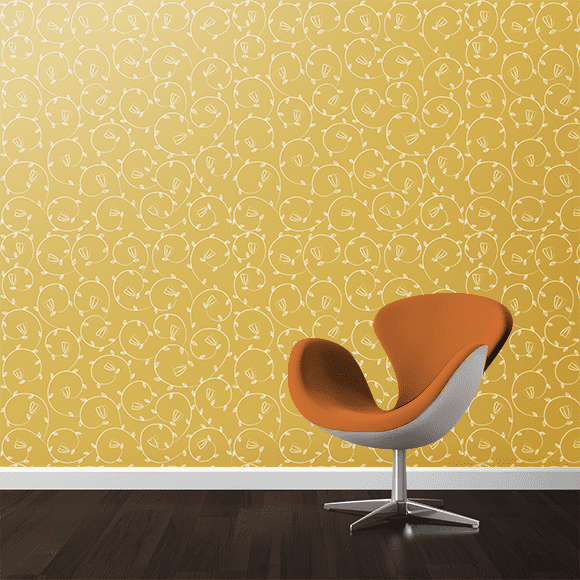 gold floral wall texture.