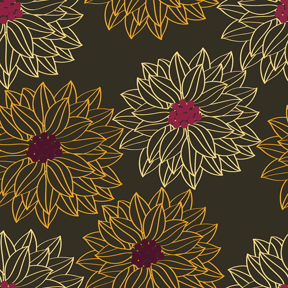 Daisy floral seamless vector pattern