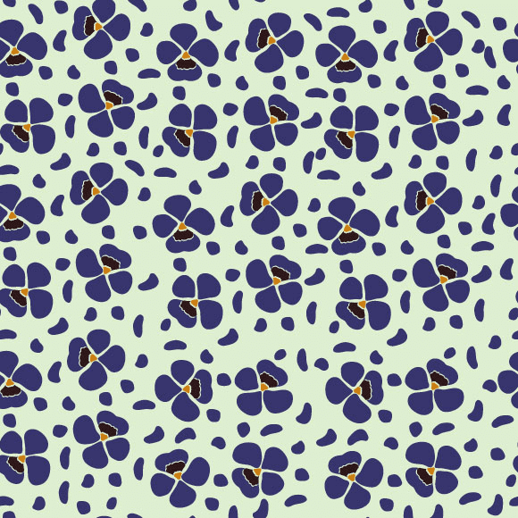 Blue Anemone Floral Pattern