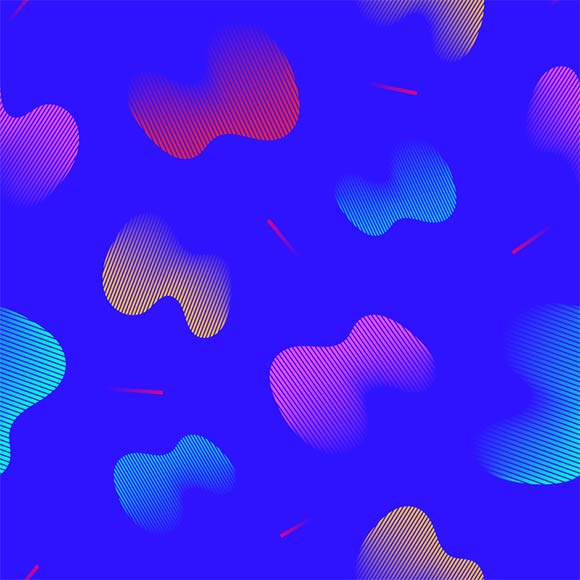 Multicolor fluid shape on blue background. Seamless vector pattern