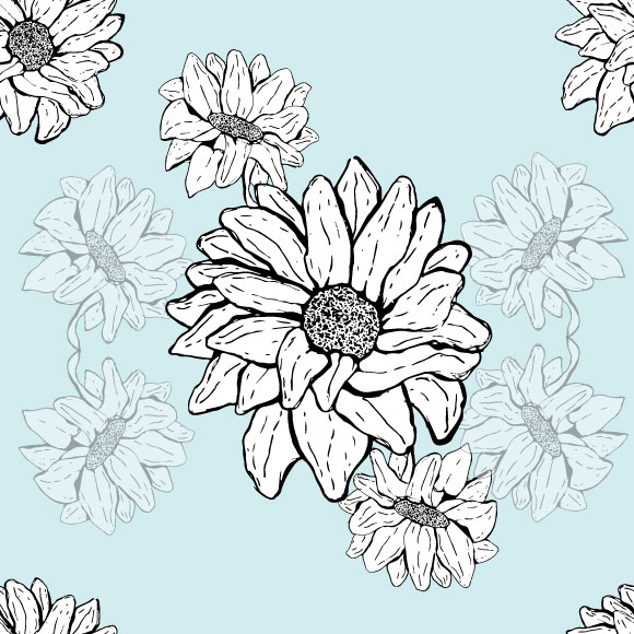 Sunflower seamless vector pattern