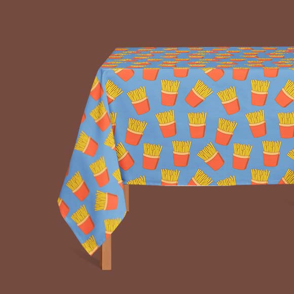 french fries print table cloth