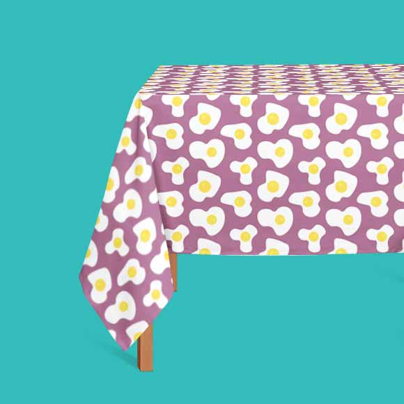 Fried egg print table cloth