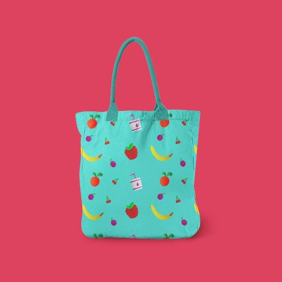 Fruits and berries print handbag