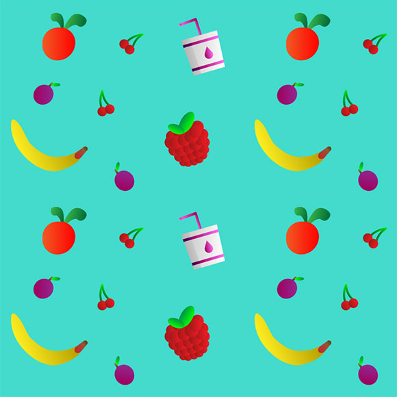 Fruits and berries print pattern