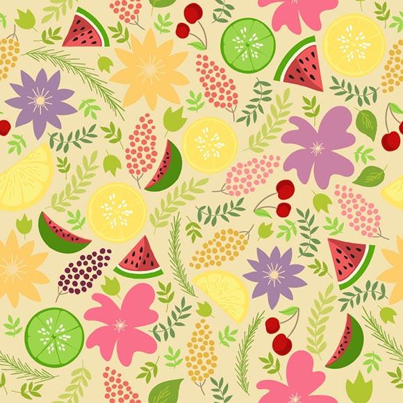 Fruits, flower and leaf lemon green background