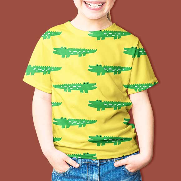 kid wearing crocodile pattern t-shirt