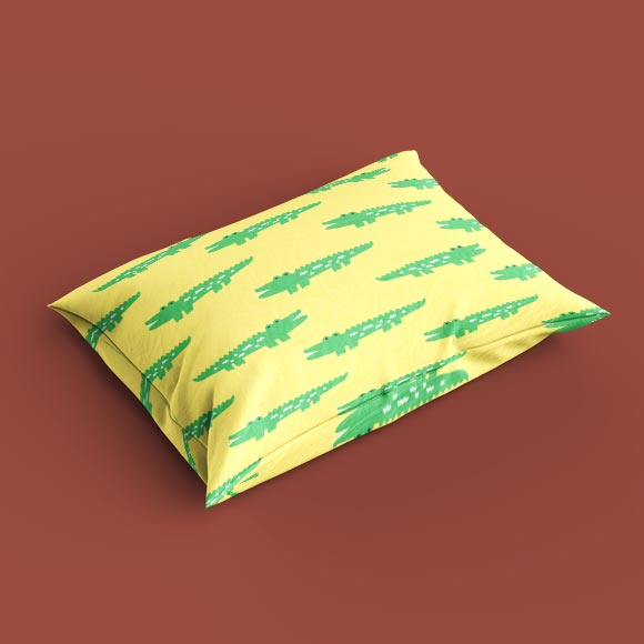 pillow cover with crocodile Print