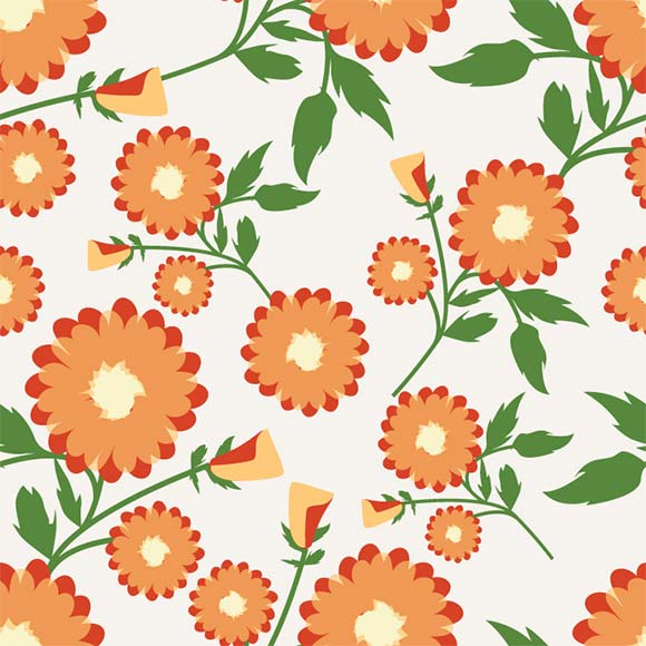 Orange gaillardia aristata flowers with leafs seamless vector pattern