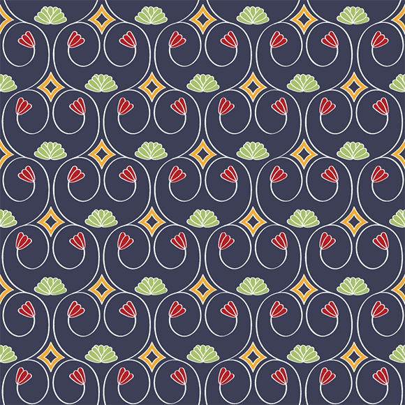 Red and green floral design and ethnic border