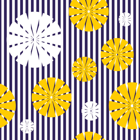 White and yellow geometric flowers icons and seamless vector pattern