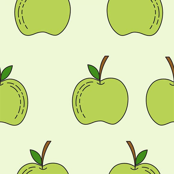 Green apple seamless vector pattern. Fruit icon design background