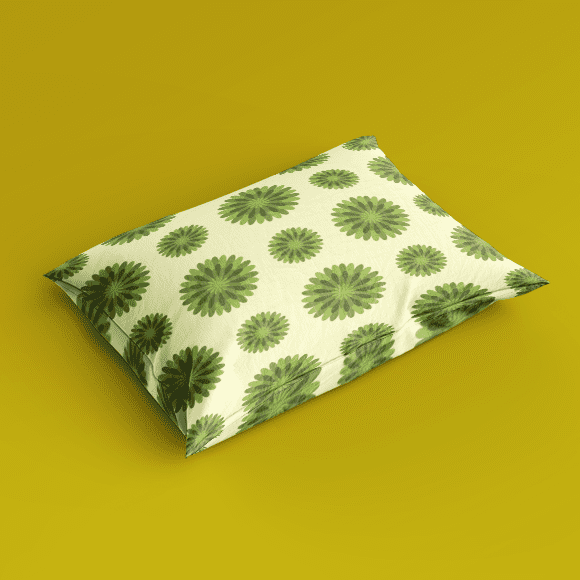 Green Scandi Flower Patterns, Pillow Cover.