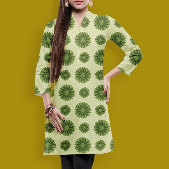 Green Scandi Flower Patterns, Ladies Skirt.