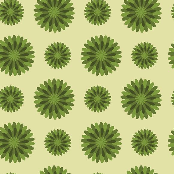 Green Scandi Flower Patterns