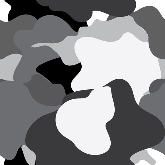 Black, grey and white camouflage seamless pattern. Vector illustration