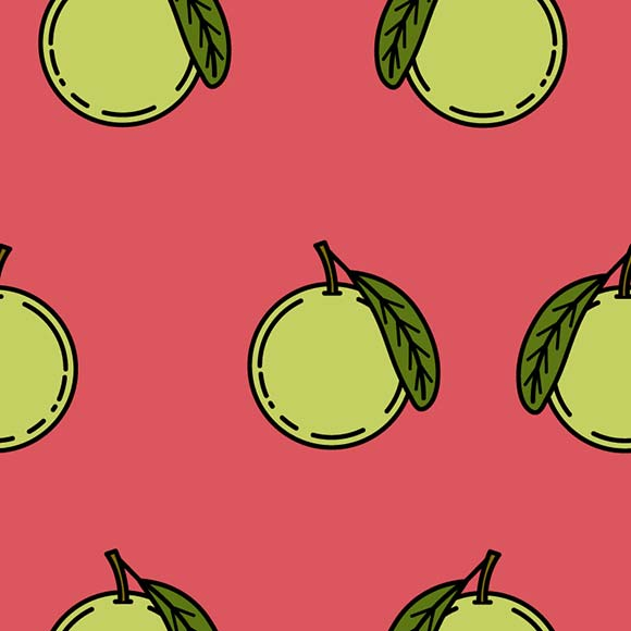 Hand drawn guava fruits seamless vector pattern. Fruit icon background