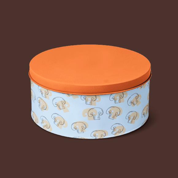 Tiffin box with seamless mushrooms pattern
