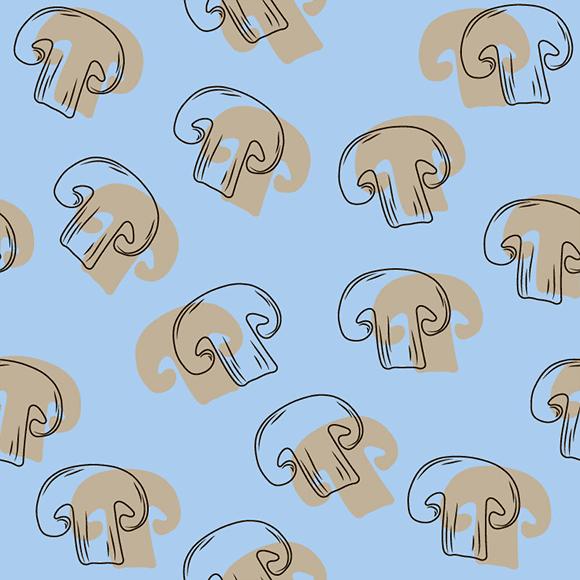 Seamless Mushrooms Pattern. Blue background.
