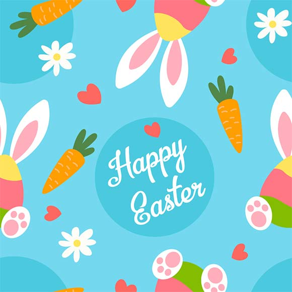 Carrots, bunny, flowers and hearts seamless easter elements pattern