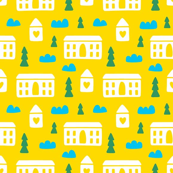 House and trees pattern
