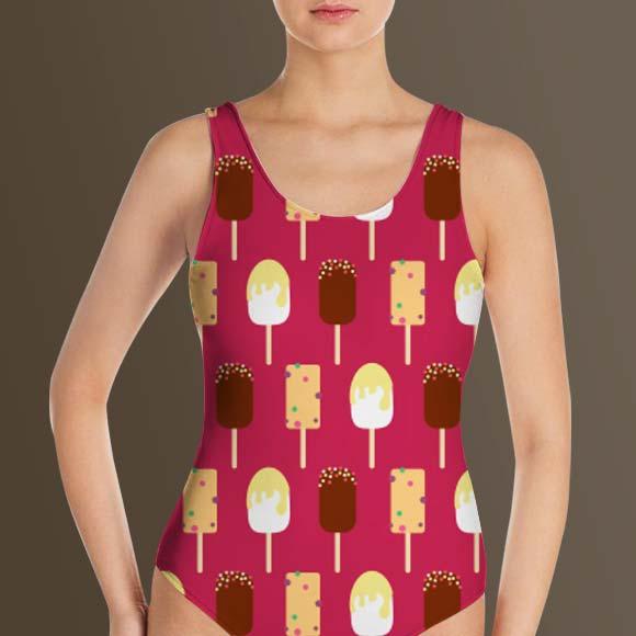 ice cream background print ladies swim suit