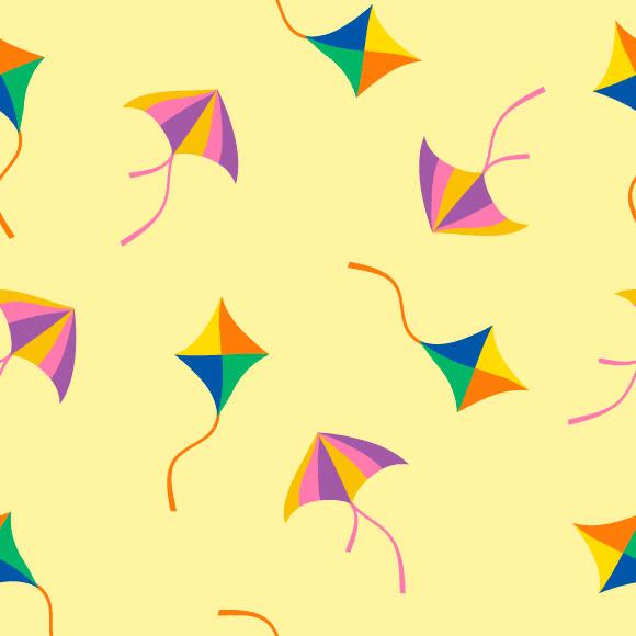 Seamless Flying Kites Pattern