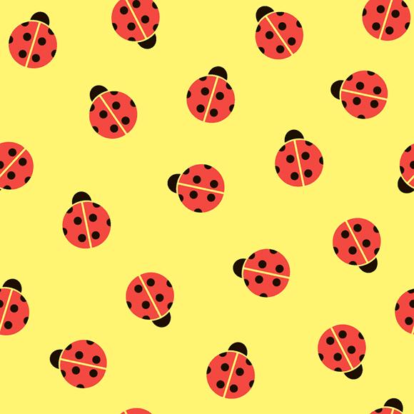 Ladybug pattern. Yellow background.