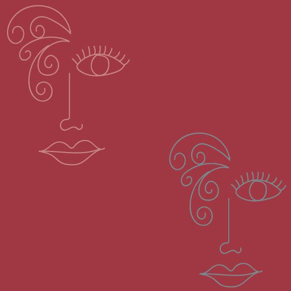 Women faces line art design seamless pattern. Vector illustration