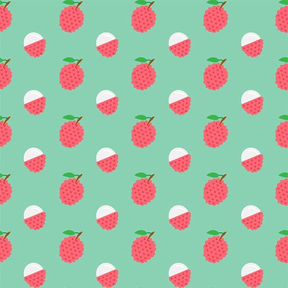 Lychee fruit with leafs seamless vector pattern. Flat design background
