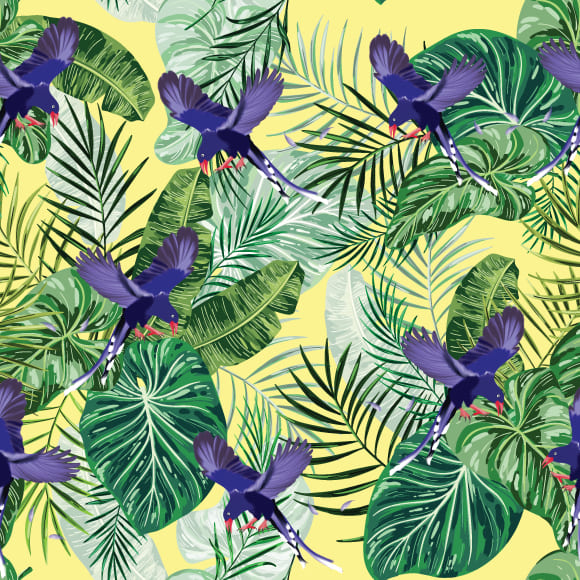 Magpie bird & tropical leaves vector pattern
