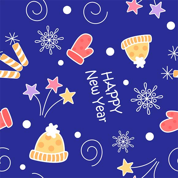 Snowflakes, stars, winter cap and gloves seamless new year pattern