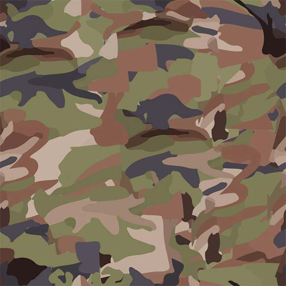 Green, brown, black camouflage vector pattern. Woodland background