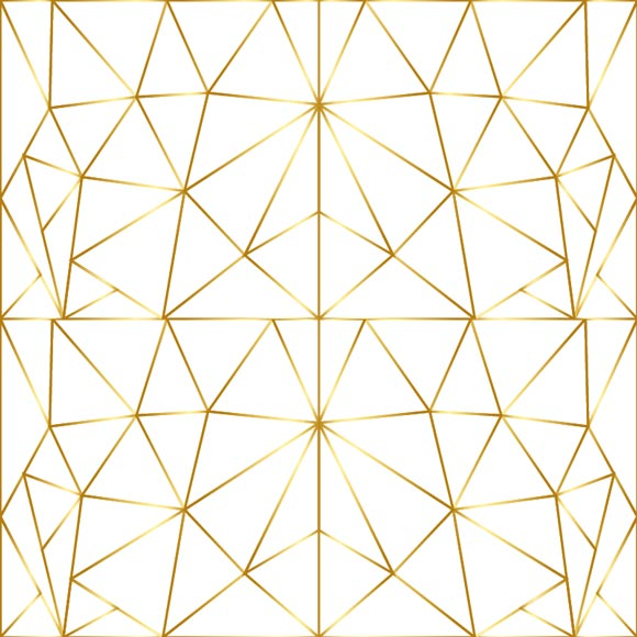 Modern mosaic tile line art gold triangle printed on white background