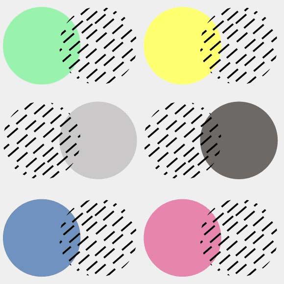Multicolor circles with black diagonally lines