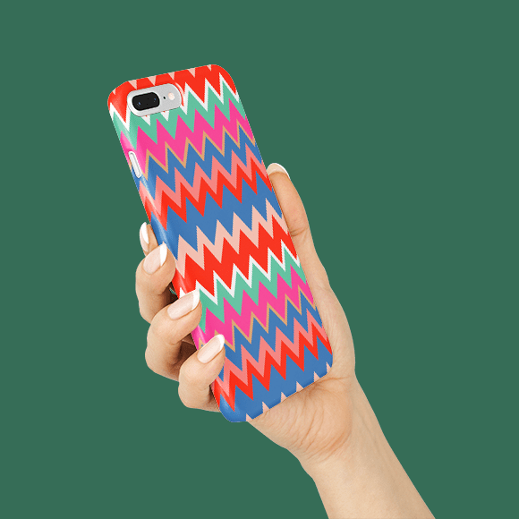 Multicolored zigzag phone case