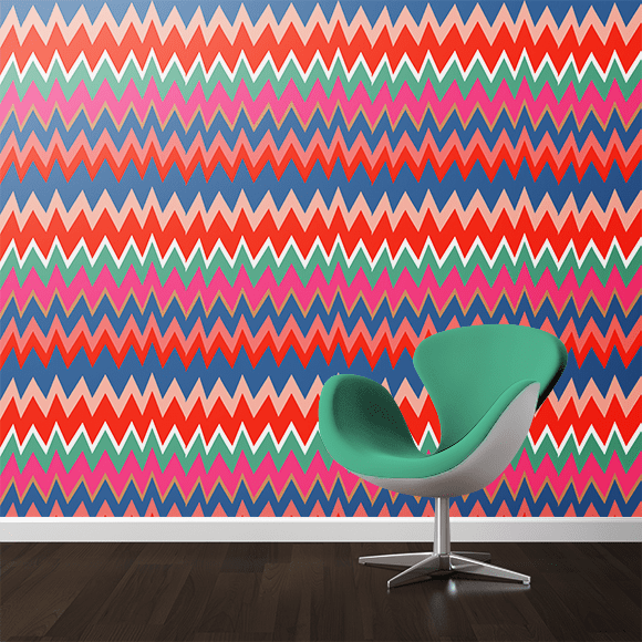 Multicolored zigzag wall texture