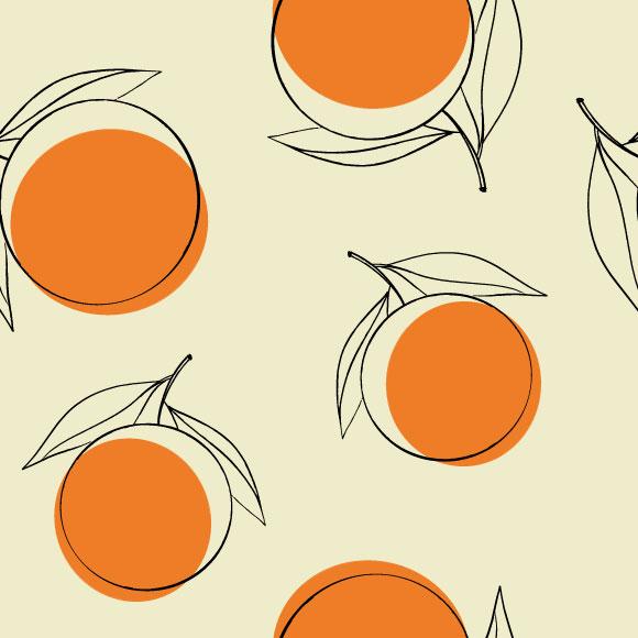 Orange seamless vector pattern. Citrus fruits illustration background image