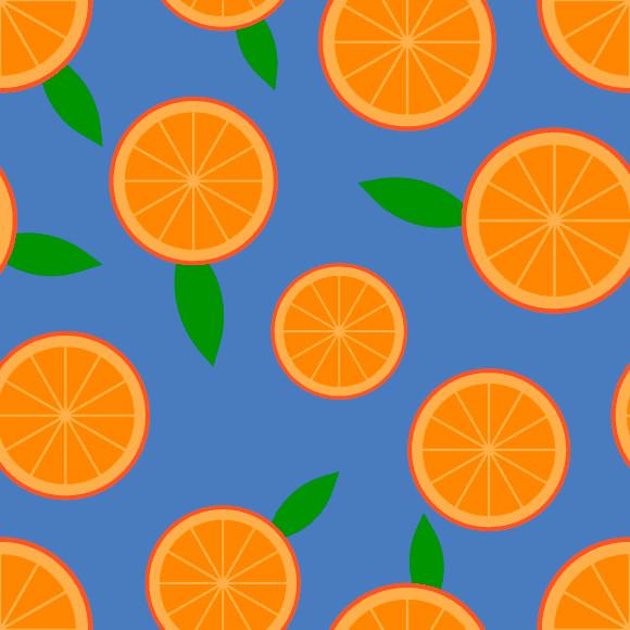 Orange slices seamless vector pattern. Summer citrus fruits background
