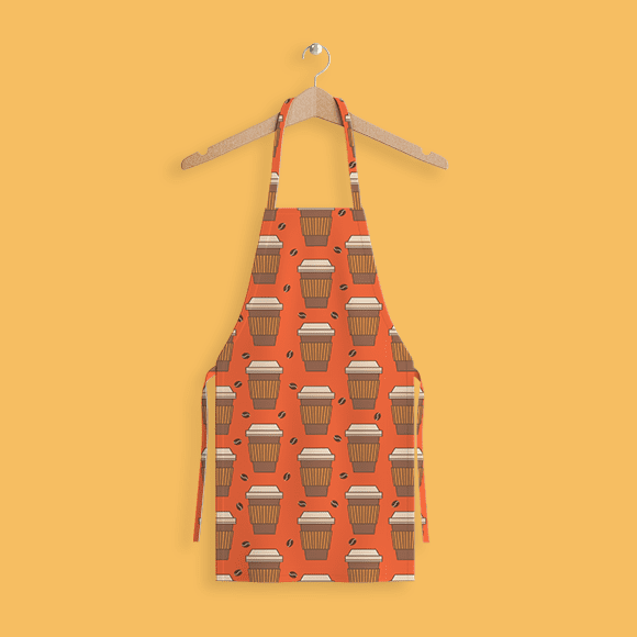 Paper Coffee Cup Pattern. Apron.