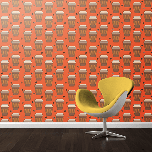 Paper Coffee Cup Pattern. Wall texture, yellow colour chair.