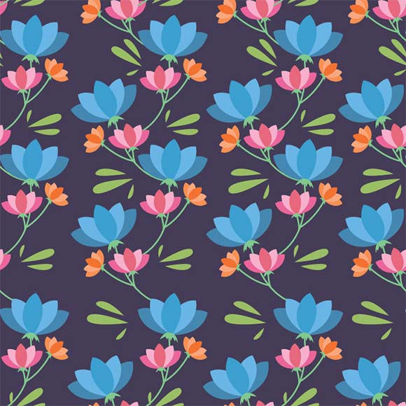 Blue, orange, pink pastel rustic florals seamless vector pattern