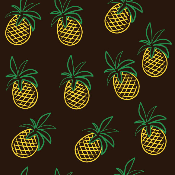 Pineapple seamless vector pattern. Line drawing fruit background