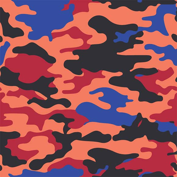 Pink, blue, black and red camouflage seamless vector pattern