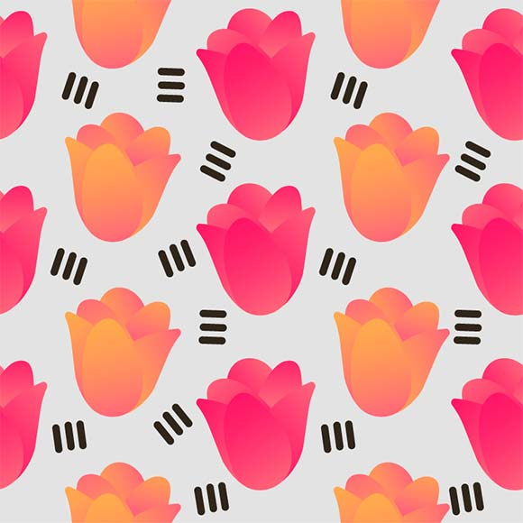 Pink & orange rose flower seamless vector pattern
